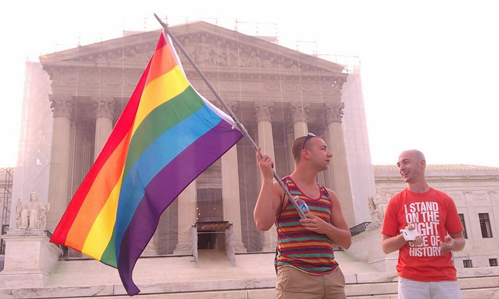 Pro-marriage equality advocates gather at the U.S. Supreme Court. Photo by author.