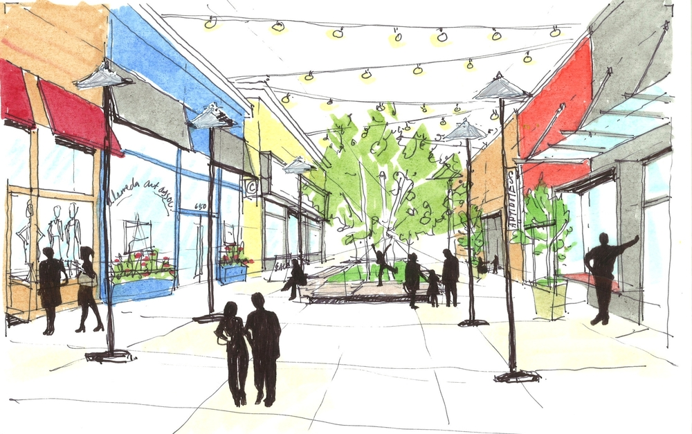 Sketch illustrating updated and unique storefronts with lighting and new landscape features.