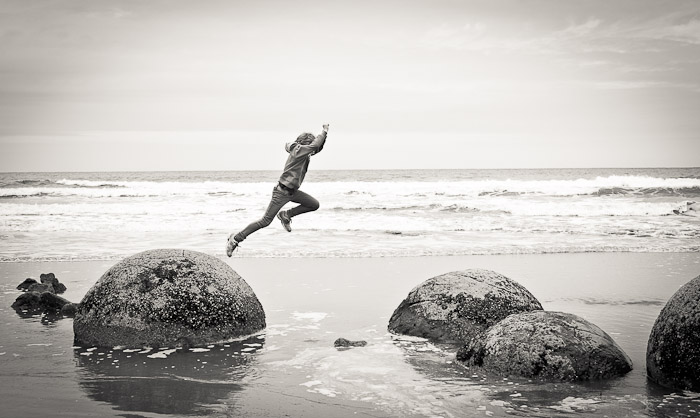 Long-jump at Moeraki Boulders, NZ (4)