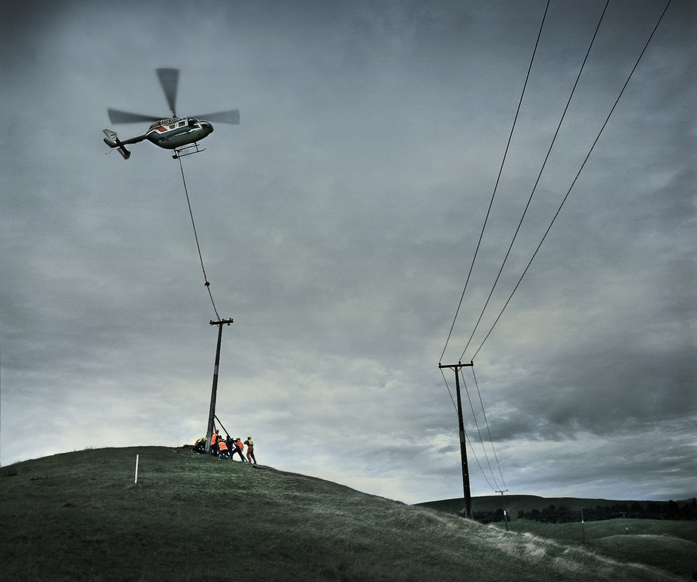 Helicopter power pole installation