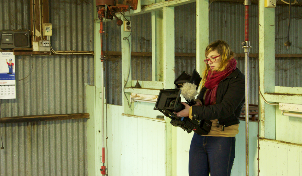 Katrina Channells in the shearing shed