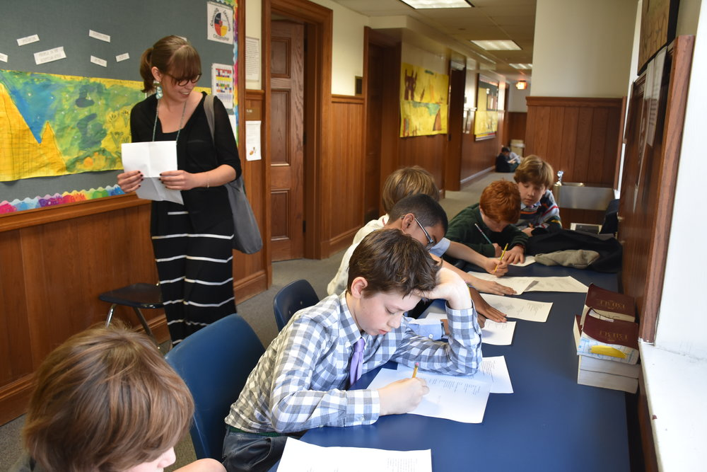 Working with B-Form students during my year as Writer in Residence at St. Albans School. Photo Credit: Kathy Russell.