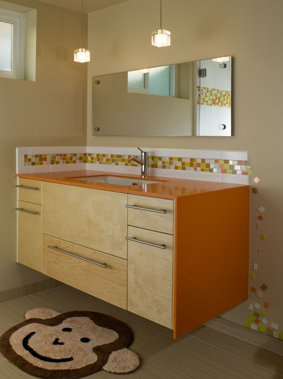 Contemporary mid century modern children's bathroom renovation - Reno, Nevada - Kovac Design
