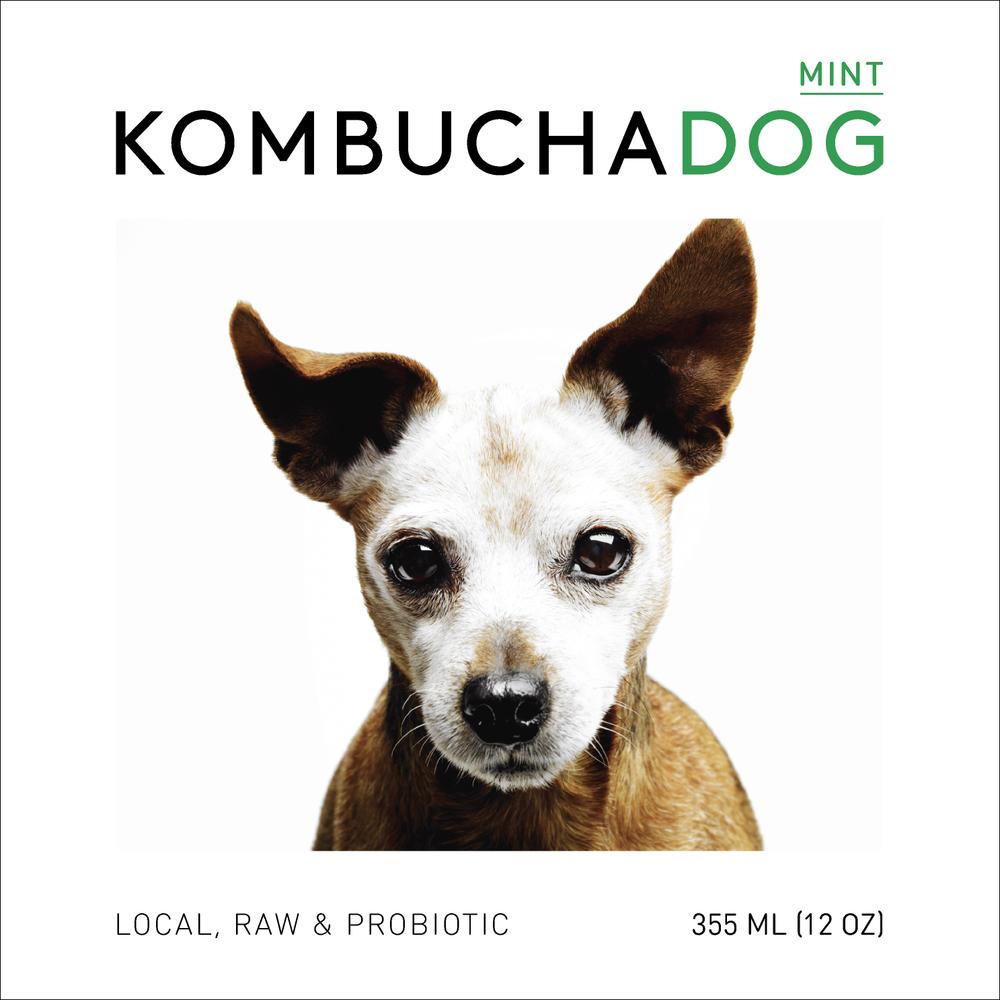 Mint Kombucha Dog label