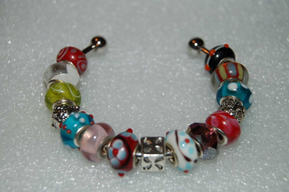 ad66d3e0e94 Sugar Coated Creations — European Style Murano Italian Glass Beaded  Sterling Silver Plated Cuff Bracelet