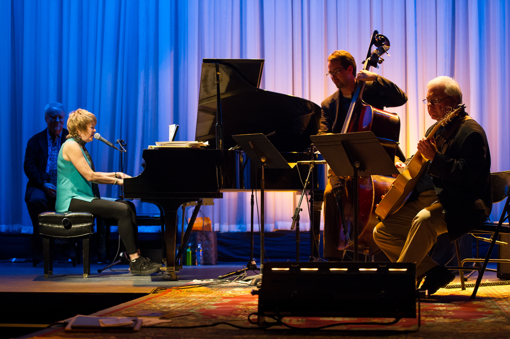 "Four-time Grammy nominee Karrin Allyson, bassist Jesse McQuarters, and guitarist Rod Fleeman performing ""Some Other Time"" by Leonard Bernstein (2014).  Photo Credit: Michael McCaskey Photography"