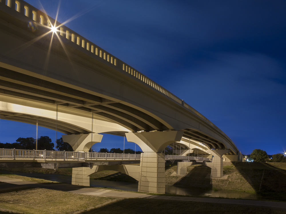 Clearfork Main Street Bridge in southwest Fort Worth, Texas, USA