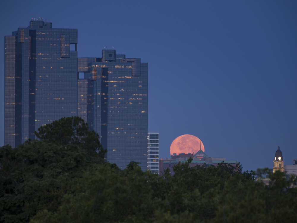 Supermoonset at dawn while looking west over downtown, Fort Worth, Texas, USA
