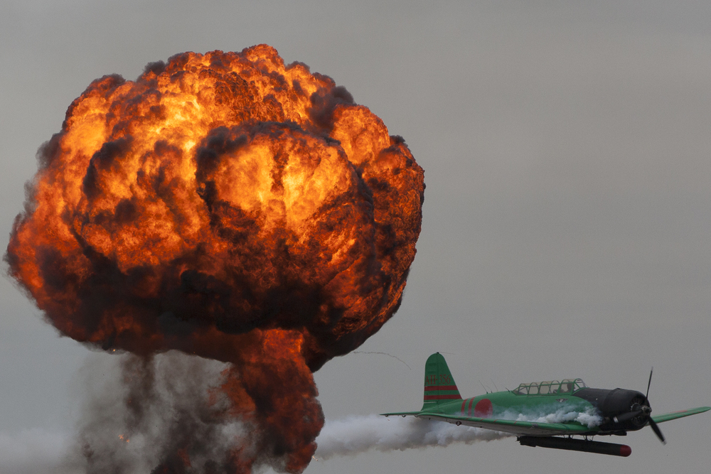 Explosion in a dramatic fireball highlights the Pearl Harbor re-enactment, Alliance Air Show, near Fort Worth, TX, USA
