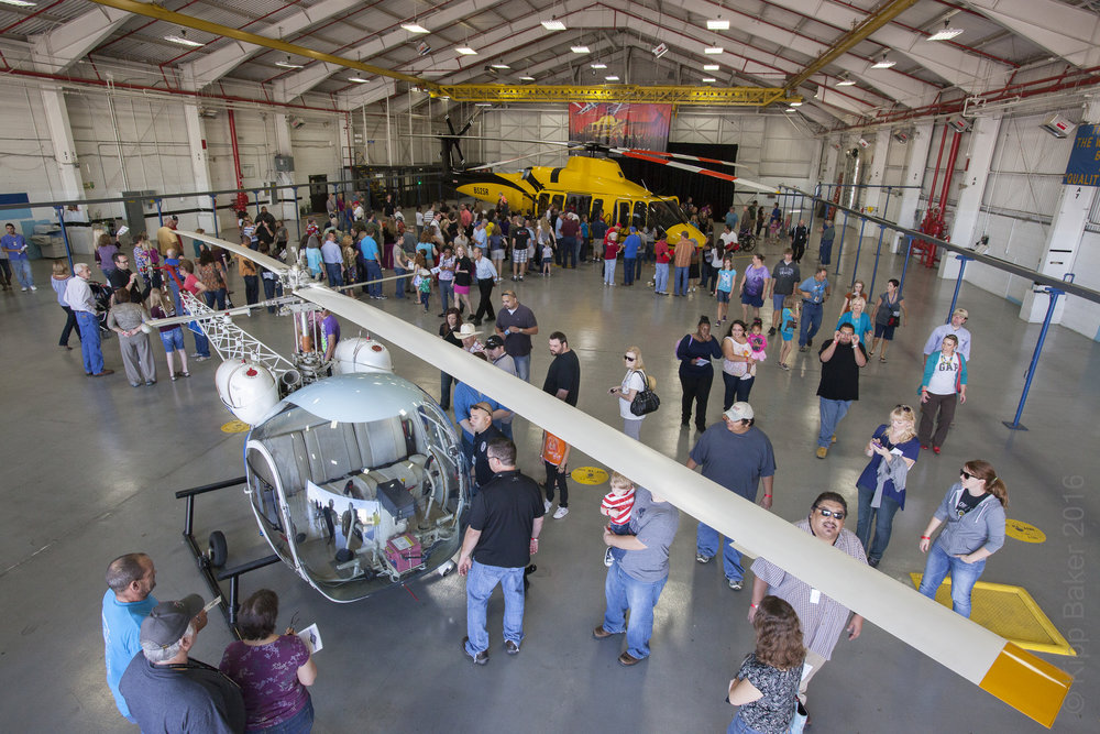 "Bell Helicopter Family Day shows the worker's families their products. Here Bell's first commercial aircraft, ""the 47"" is on display with Bell Helicopter's latest, the 525 Relentless."