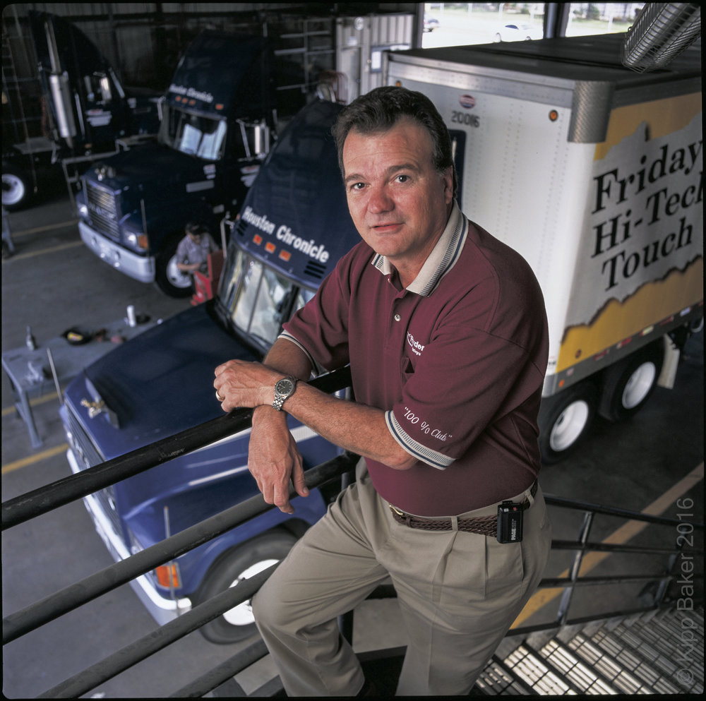 Ryder Integrated Logistics manager poses for promotional portrait at their facility in the DFW Metroplex, north Texas area. Copyright © Kipp Baker, All rights reserved.