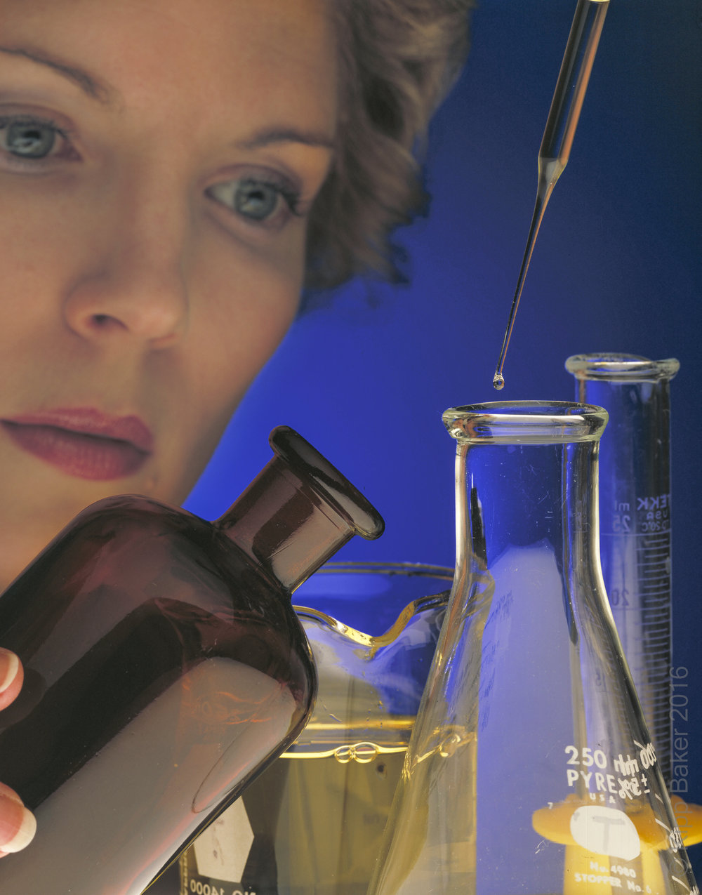 Image of laboratory researcher used in healthcare annual report