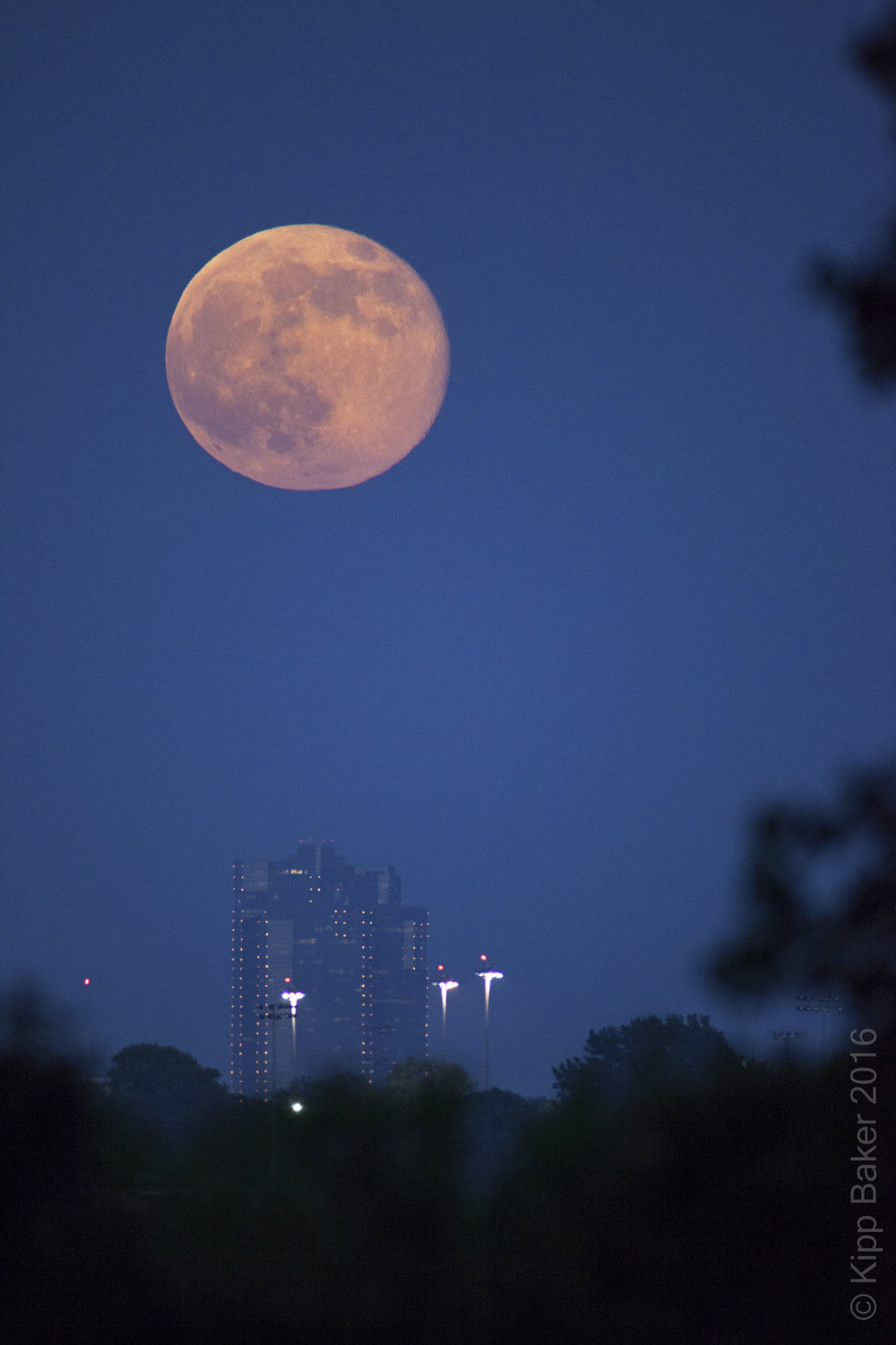 Supermoon over Fort Worth, Texas Copyright © Kipp Baker, All rights reserved.
