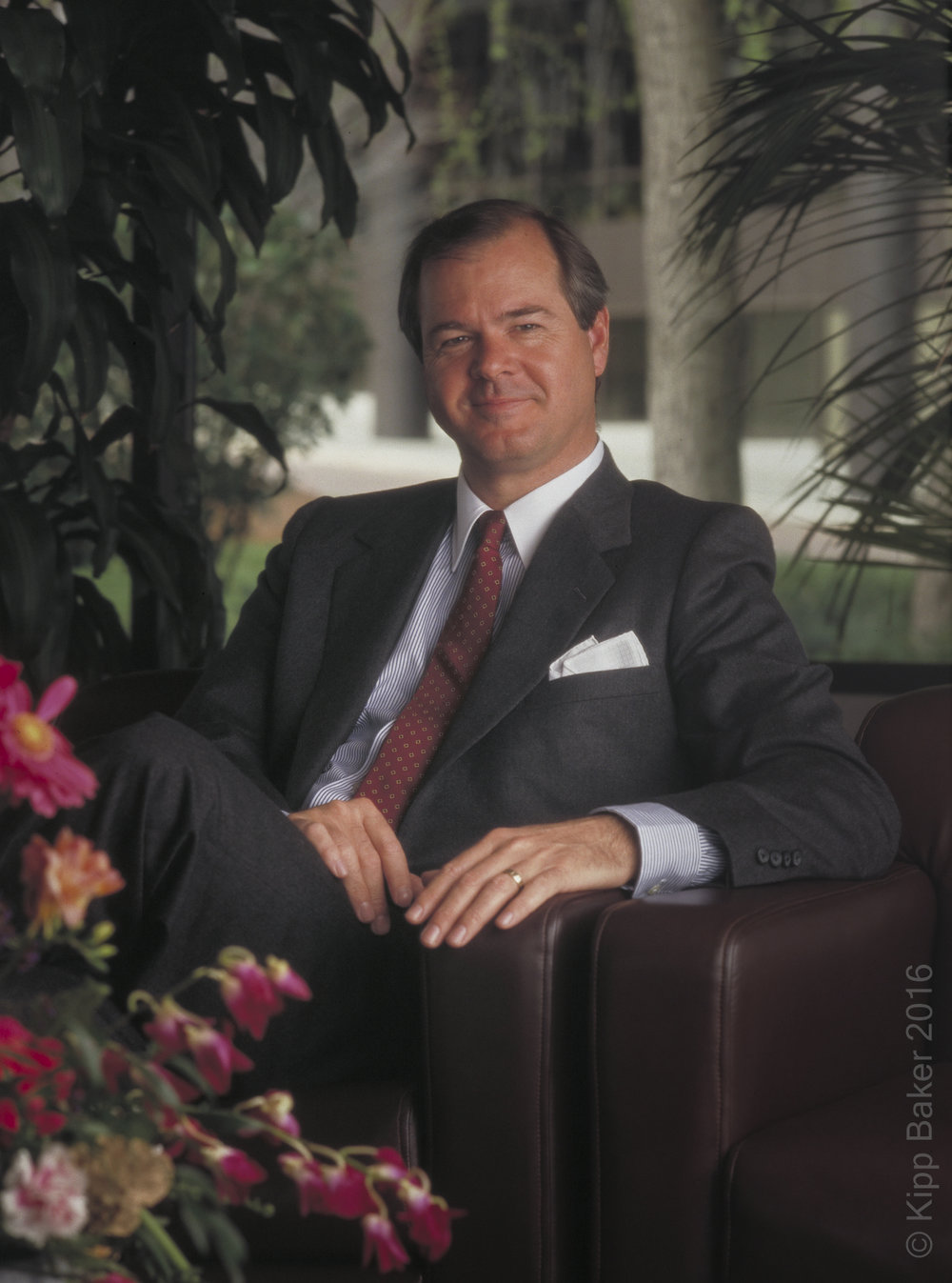 Robert Grout, managing partner  for Troutman, Sanders, Lockerman & Ashmore, one of the original tenants of Ravinia III in Atlanta, Georgia, and designed by architect Kevin Roche. Image used in marketing presentation.