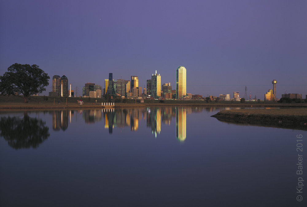 Dallas Skyline from the mid-1990s - 4x5 fujichrome Copyright © Kipp Baker, All rights reserved.