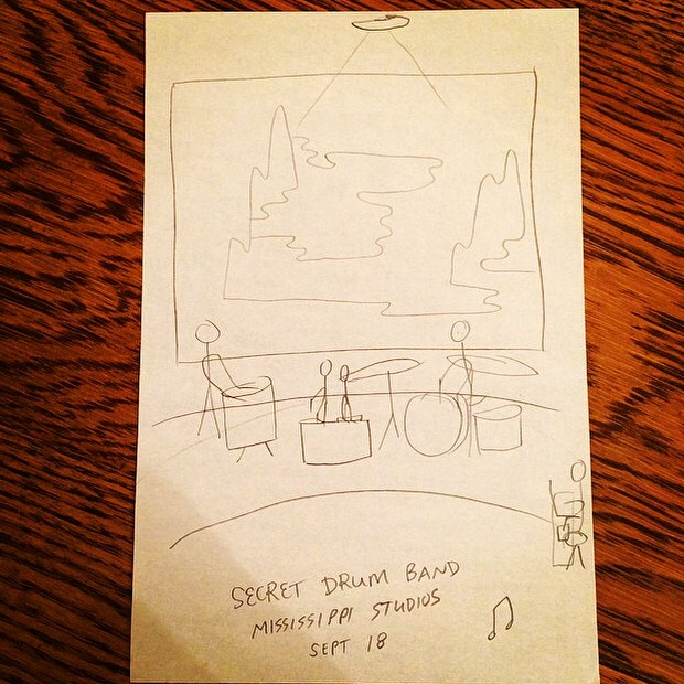 illo by Leif J Lee for Drum/Draw at Miss Studes w/ Secret Drum Band