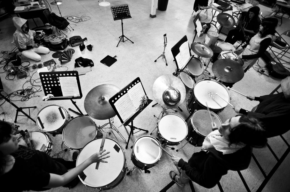 1. Secret Drum Band.  - Photo by Martin C Evans. 2011. Secret Drum Band is my primary musical outlet, and performs my habitat-based compositions.