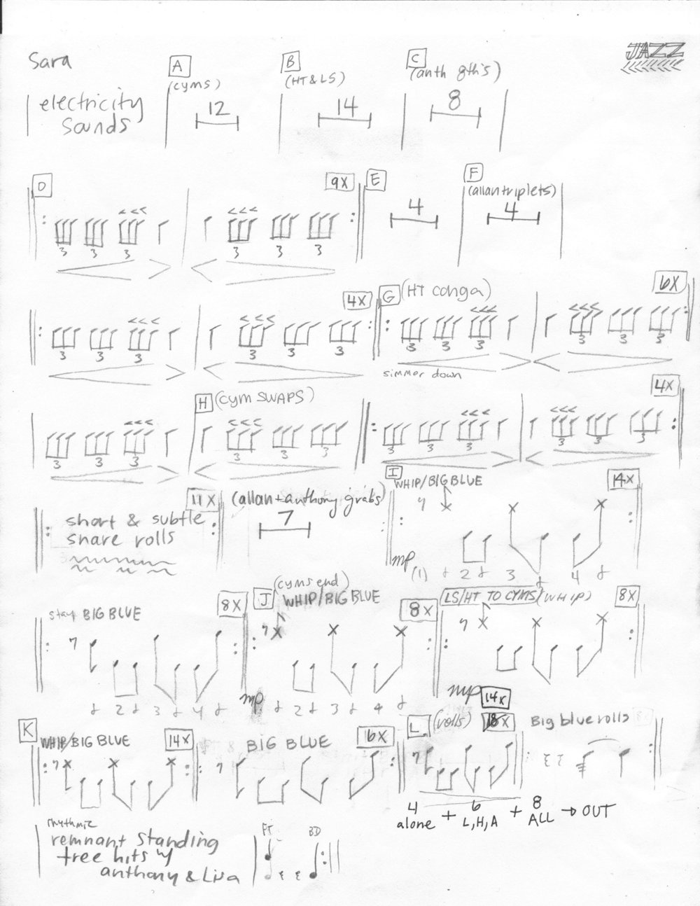 2. Sheet music for Jazz (Timber Sale) - 2015. This is the sheet music for 1 of 5 percussion parts in the song Jazz (Timber Sale). I wrote this composition in response to logging in the Jazz Timber Sale in Mount Hood National Forest for the artist collective Environmental Impact Statement, which I co-directed.