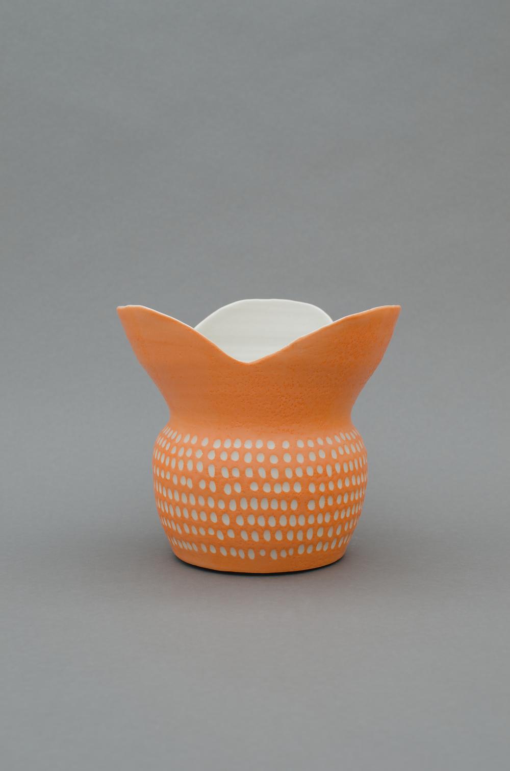 Shio Kusaka  Untitled (orange 8)  2013 Porcelain 7 1/2h x 7 7/8w x 7 7/8d in SK400