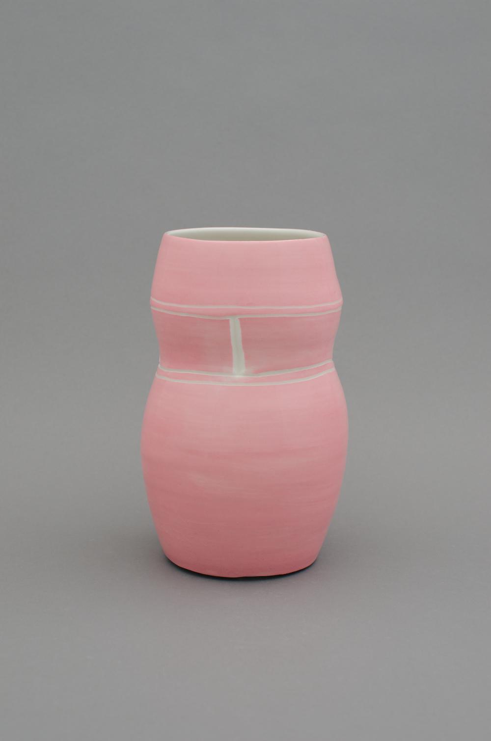 Shio Kusaka  Untitled (pink 1)  2012 Porcelain 9 1/2h x 5 3/4w x 5 3/4d in SK381
