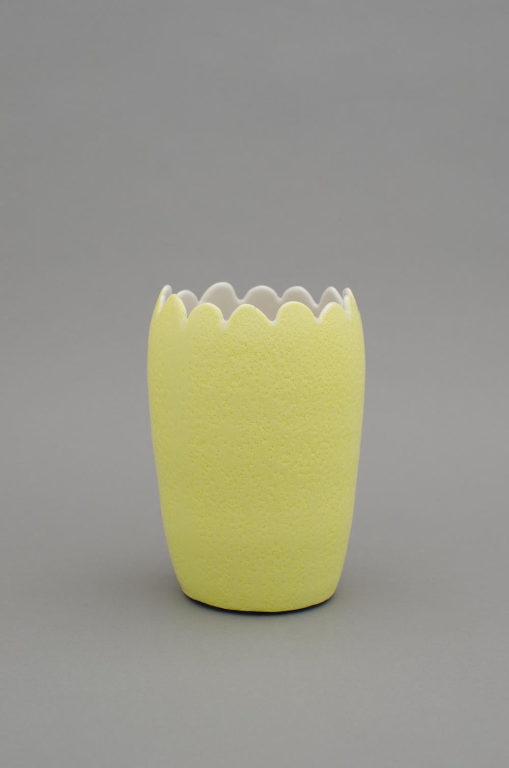 """Shio Kusaka Untitled (yellow 1) 2012 Porcelain 7 1/4"""" x 5"""" x 5"""" SK377"""