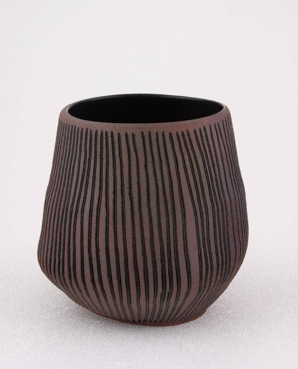 "Shio Kusaka Untitled (carved stripe 2) 2009 Stoneware 4 1/2"" x 4"" SK022"