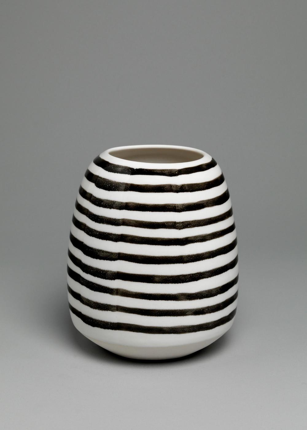 """Shio Kusaka  Untitled (stripe 32)  2011   Porcelain   7 3/8"""" x 6"""" x 6"""" SK278"""