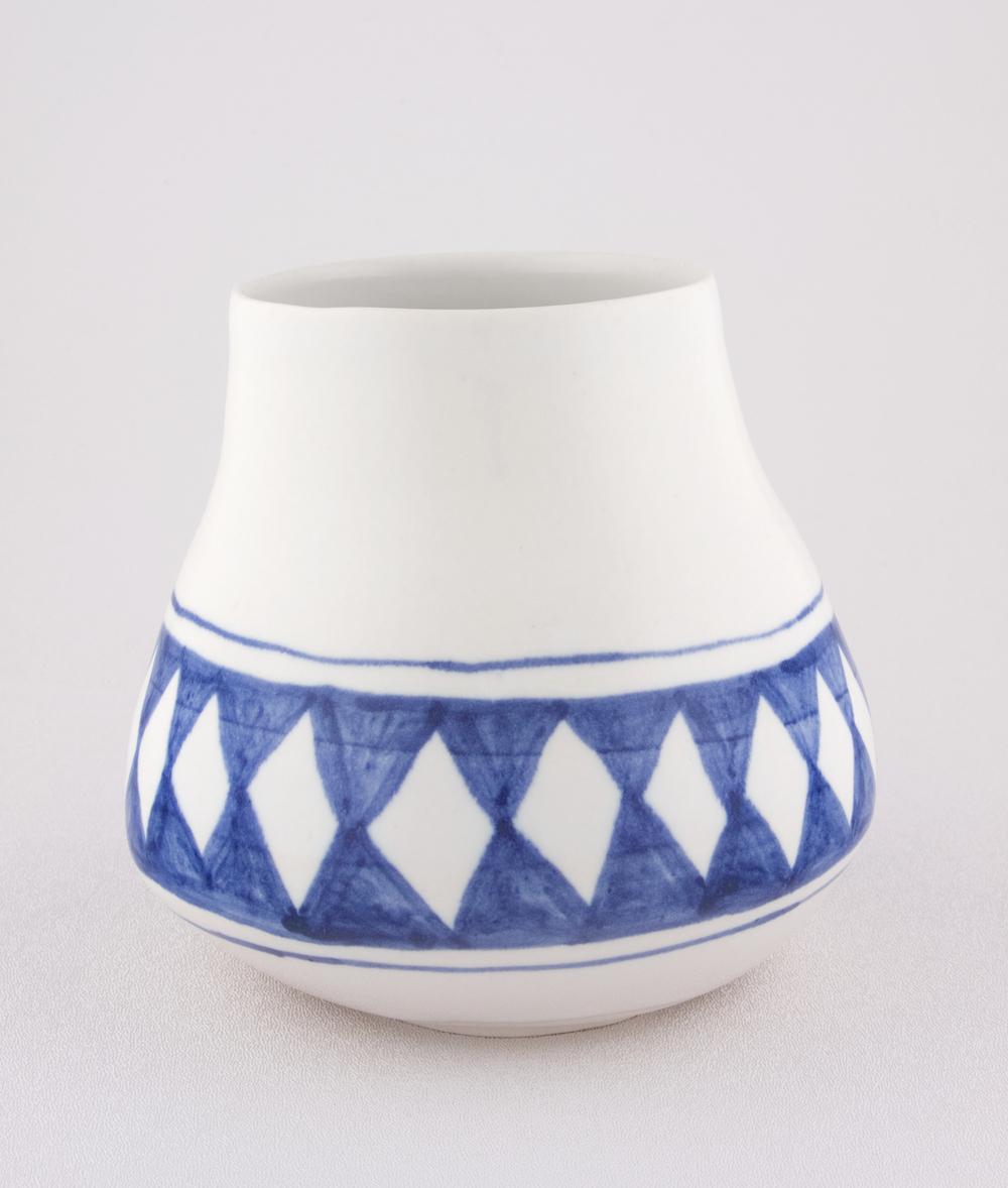 Shio Kusaka  Untitled (blue diamond)  2009 Porcelain 5 1/2h x 6 1/4w x 6 1/4d in SK049