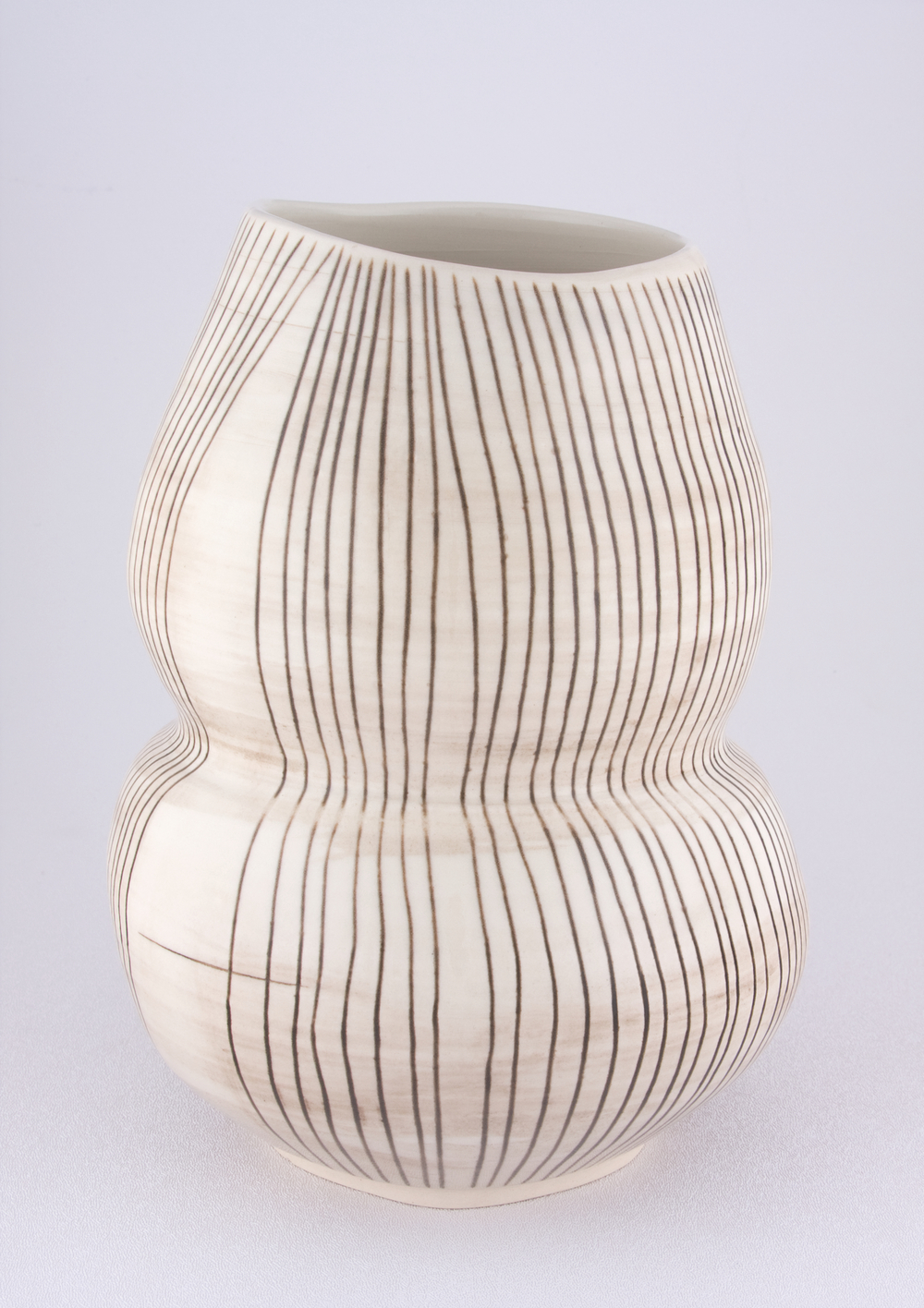 Shio Kusaka  Untitled (double black stripe)  2009 Porcelain 10h x 7 ¾w x 7 ¾d in SK043