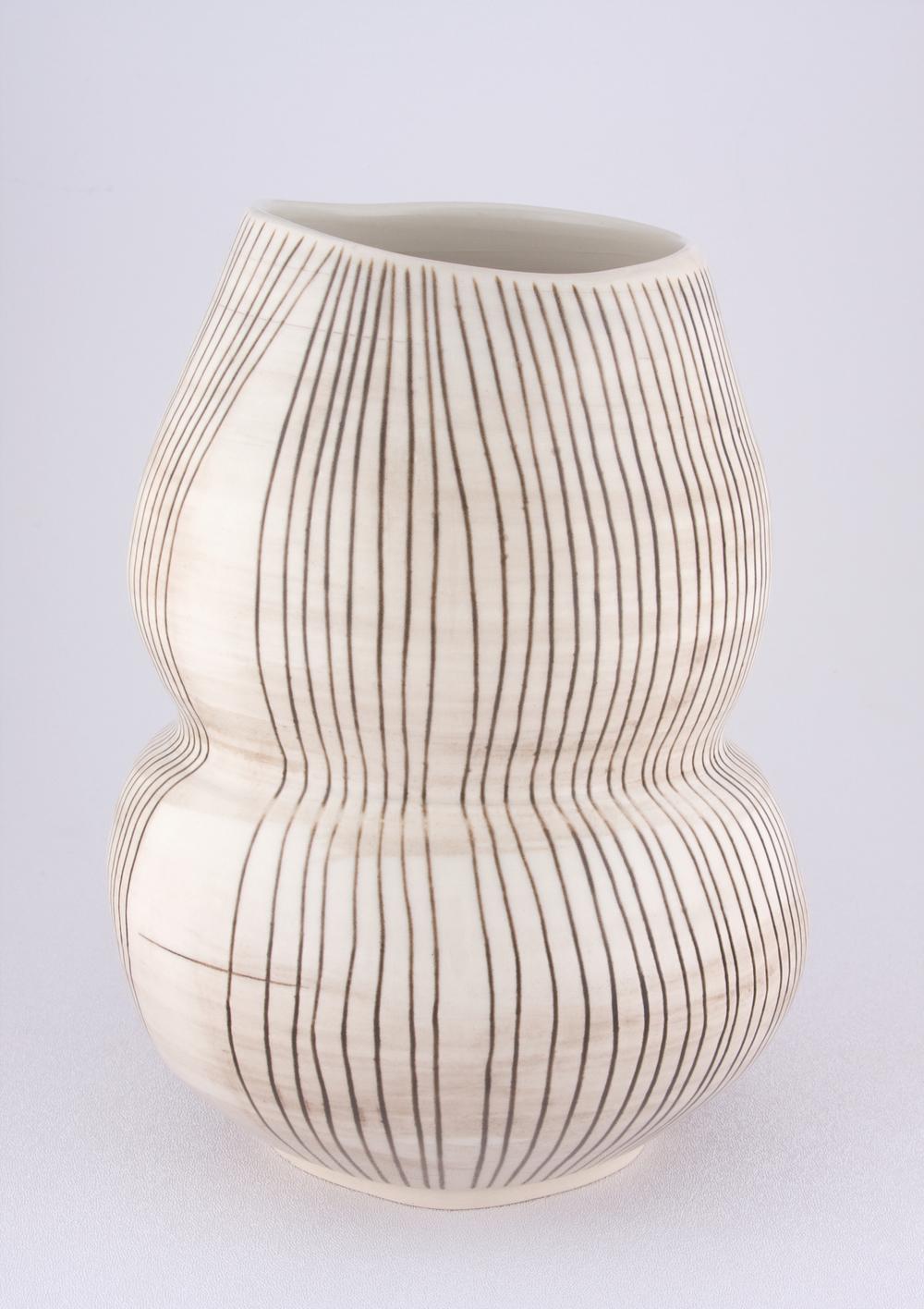 """Shio Kusaka Untitled (double black stripe) 2009 Porcelain 10"""" x 7 3/4"""" SK043"""