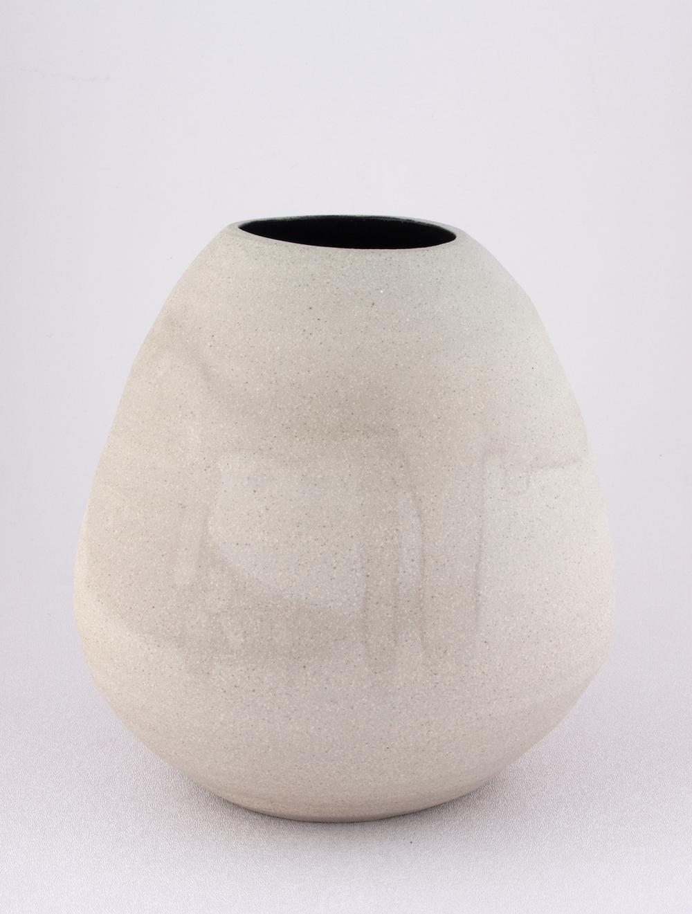 """Shio Kusaka Untitled (grey and black) 2008 Stoneware 8"""" x 8"""" SK062"""