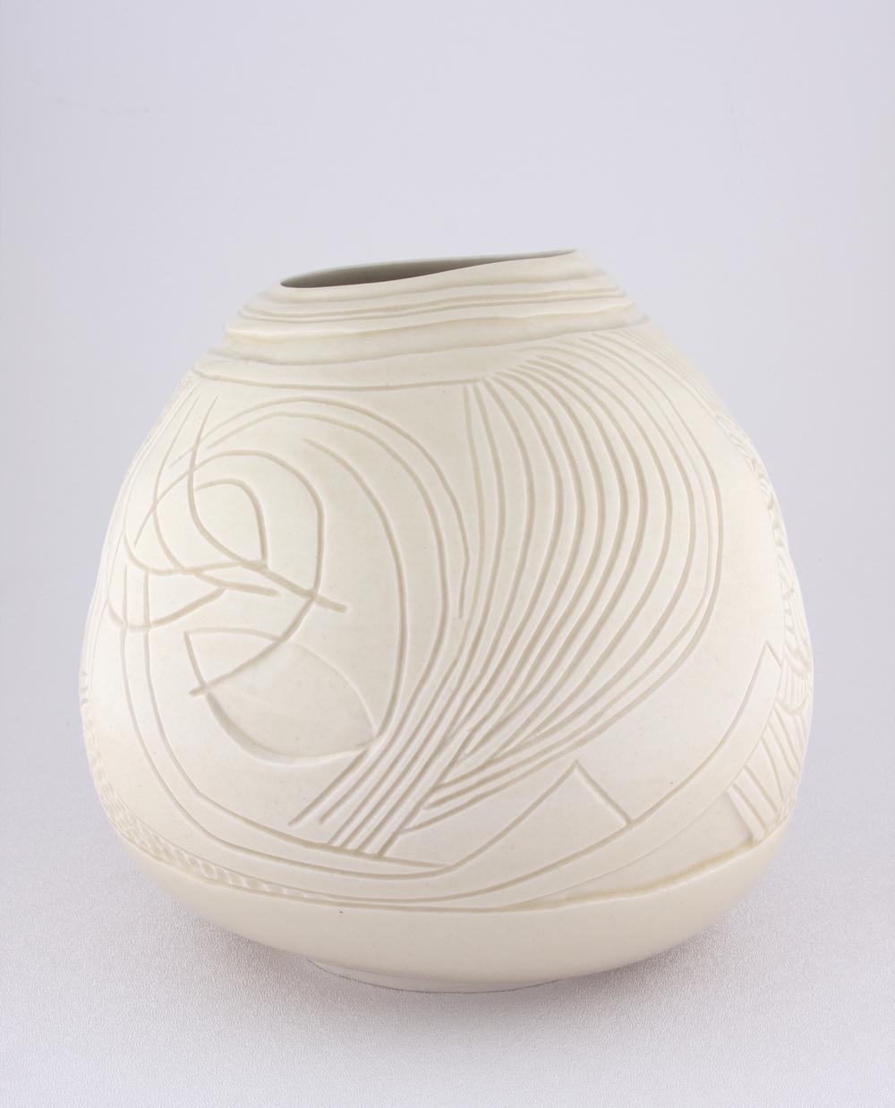Shio Kusaka  Untitled (freestyle 2)  2008 Porcelain 7 1/2h x 7 1/4w x 7 1/4d in SK047