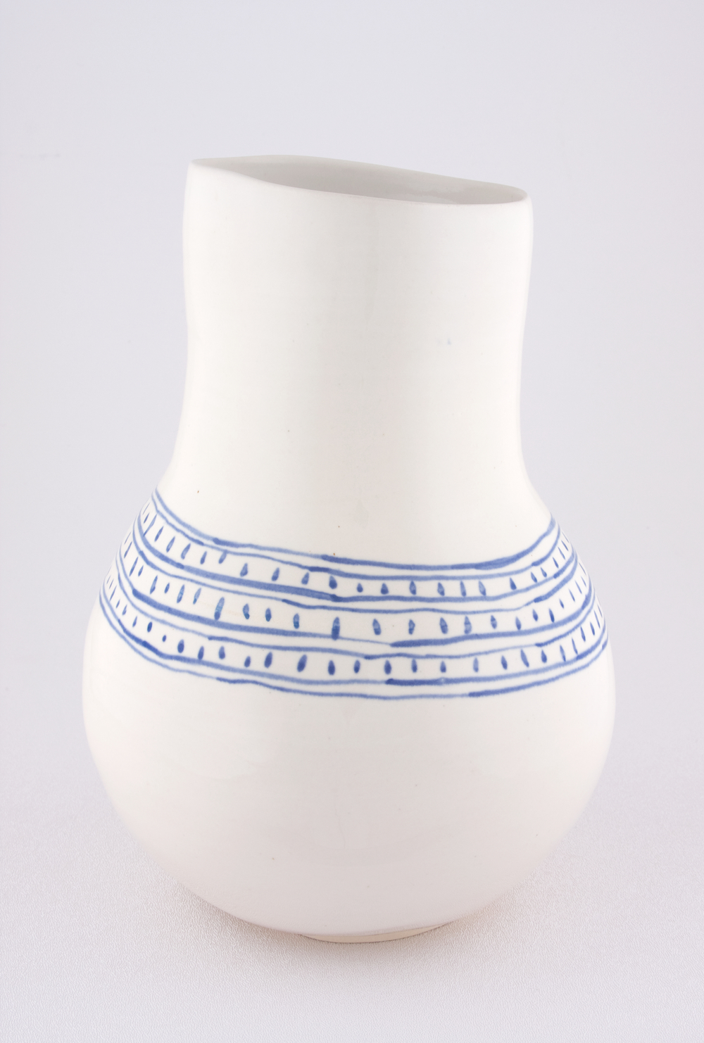 Shio Kusaka  Untitled (blue line and dot)  2009 Porcelain 9 ¾h x 7w x 7w in SK055