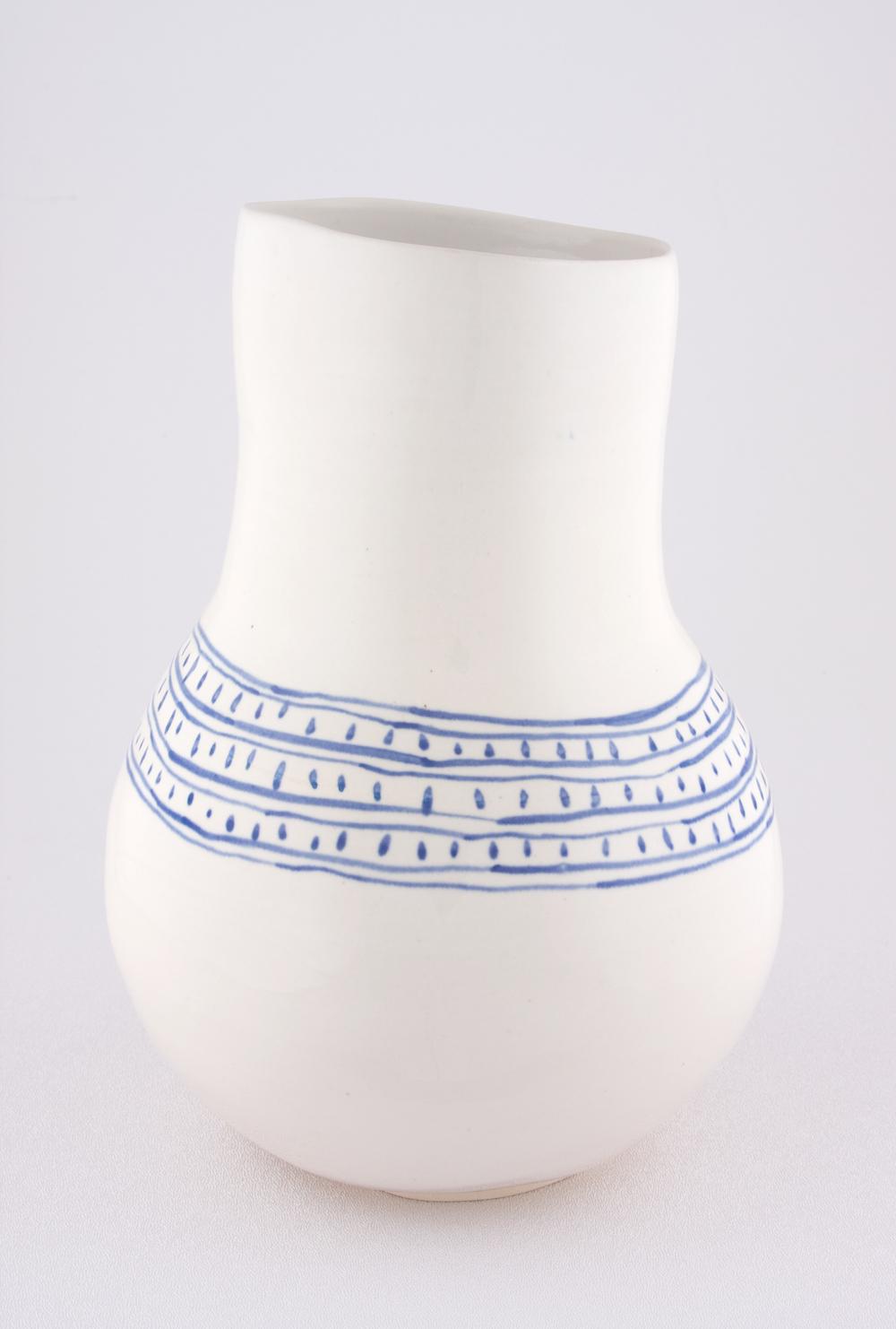"Shio Kusaka Untitled (blue line and dot) 2009 Porcelain 9 3/4"" x 7"" SK055"