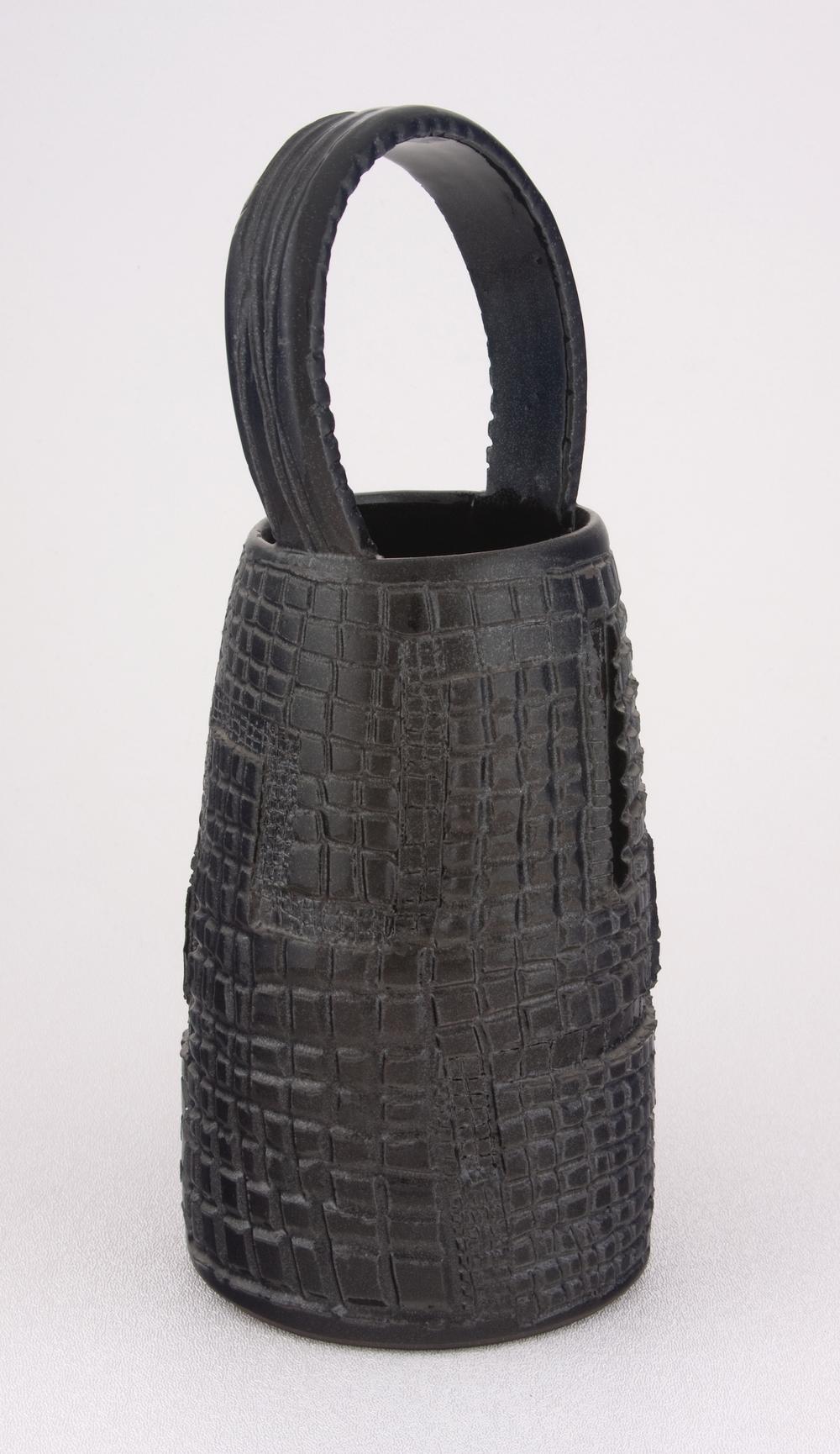 """Shio Kusaka Untitled (clay basket 1) 2005 Stoneware 10 3/4"""" x 4 1/2"""" SK001"""