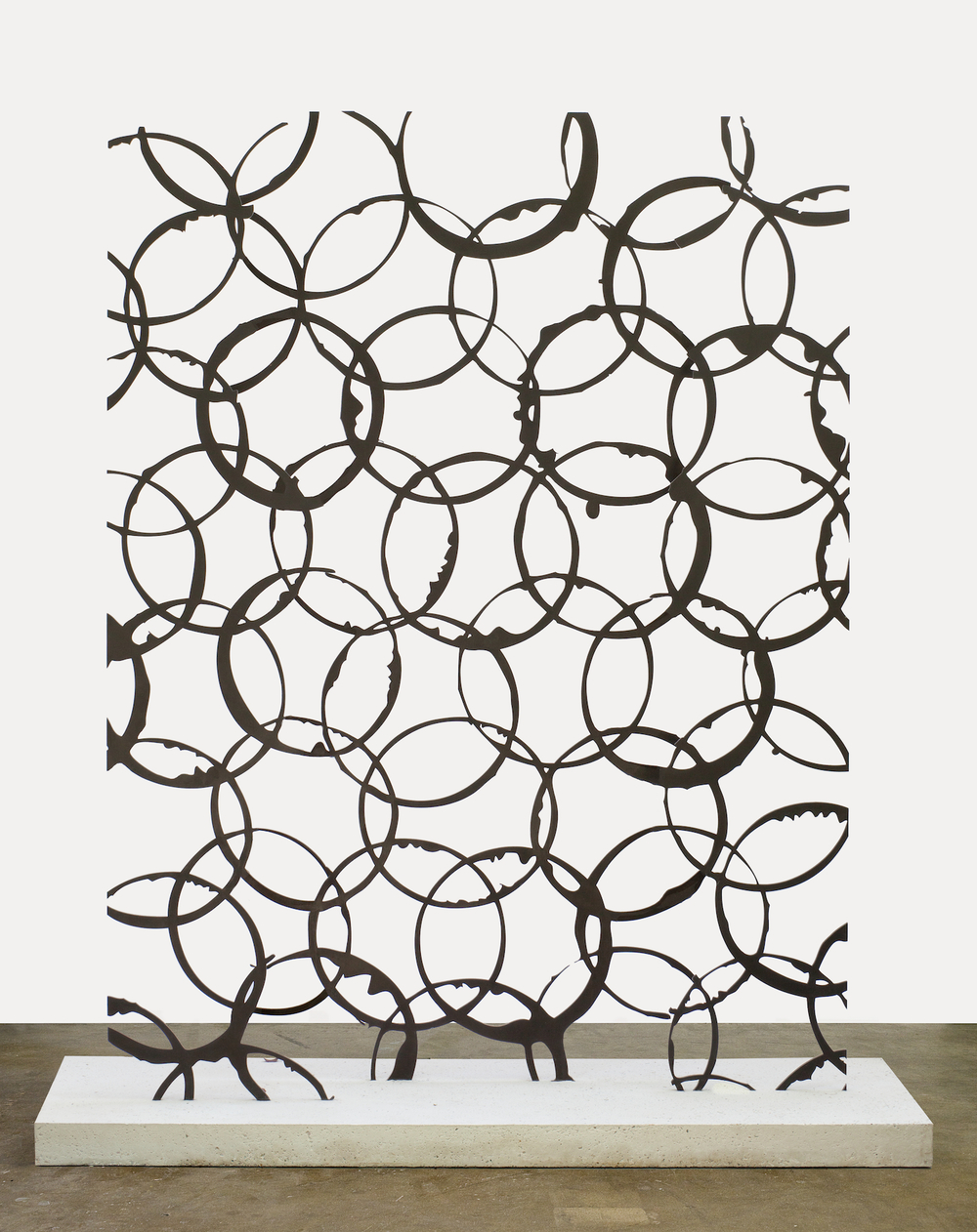 "Anthony Pearson  Untitled (Transmission)  2012   Stainless steel, sandblasted white Portland cement   81"" x 70"" x 30"" AP314"