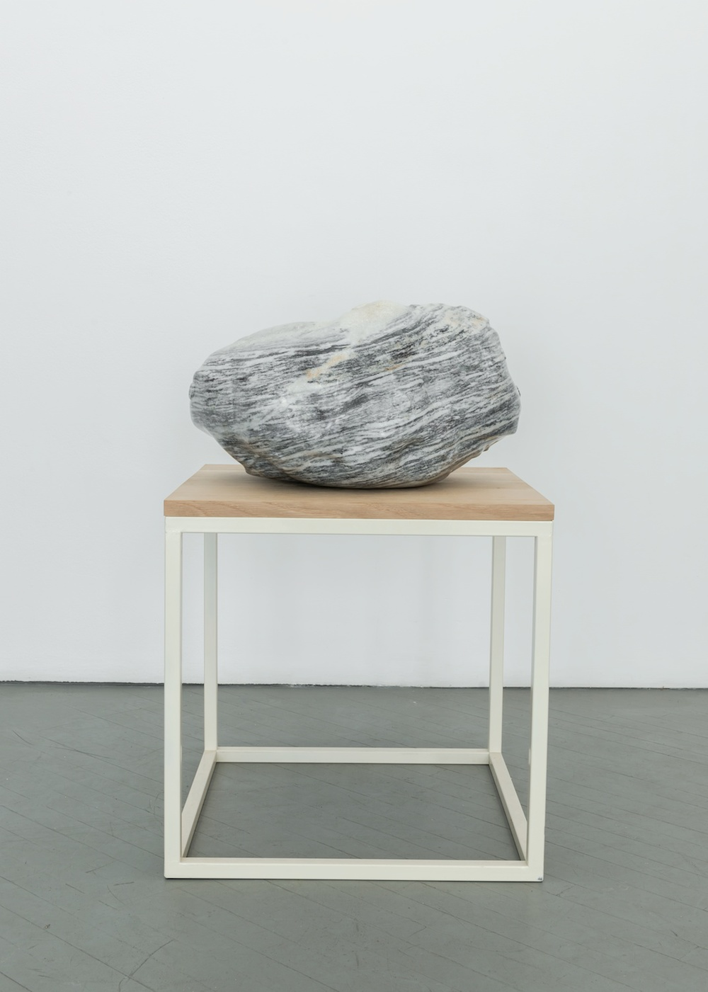 "Alma Allen Untitled  2013 Marble on oak and powder-coated steel pedestal 37"" x 16"" x 16"" AA008"