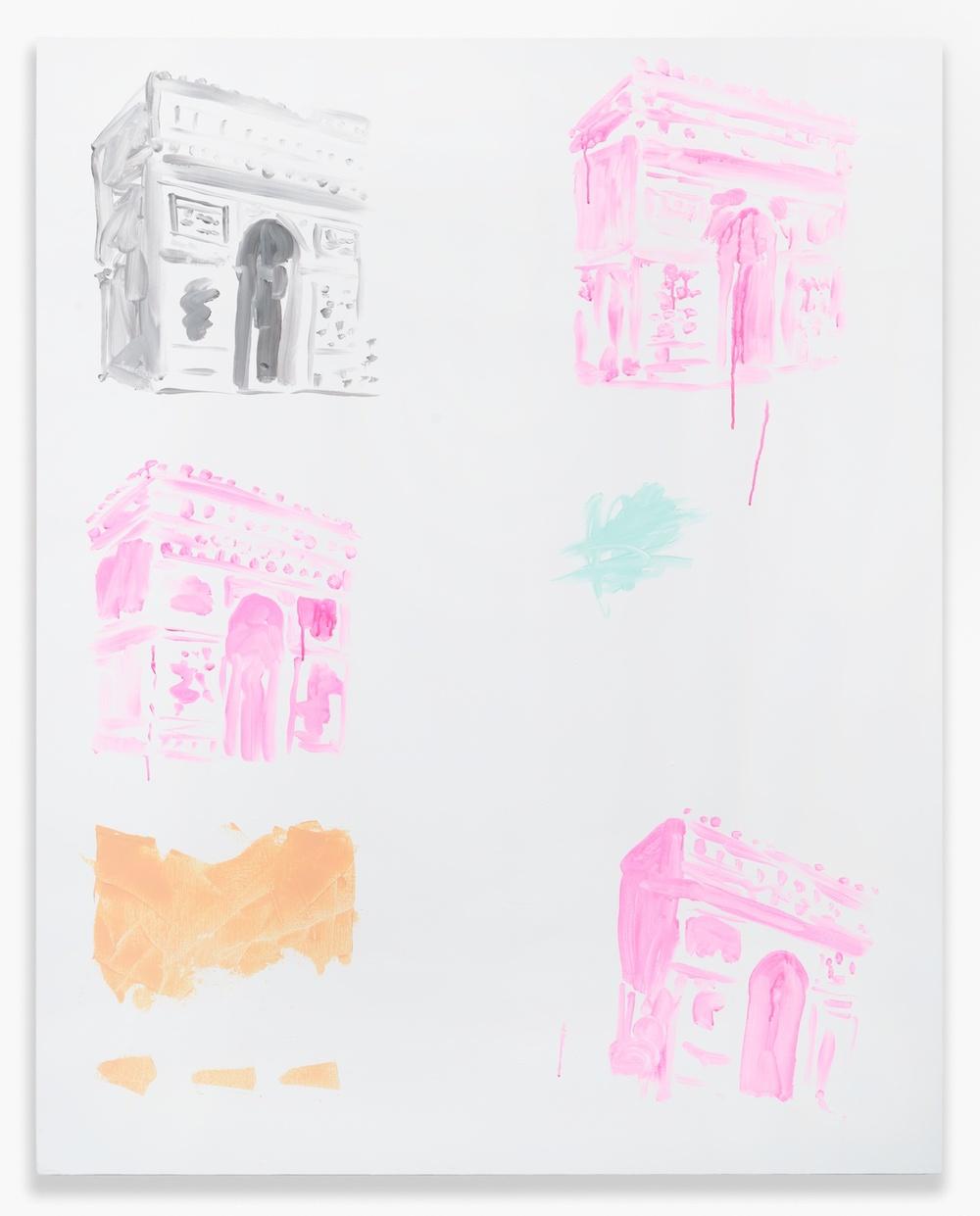 Shimon Minamikawa  Four Arc de Triomphe  2014 Acrylic on canvas 63h x 51 ⅙w in SMin004