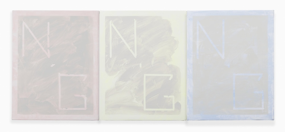 "Shimon Minamikawa Neutral Gray (pink, yellow, blue) 2014 Acrylic on canvas 14"" x 33 5/48"" SMin005"