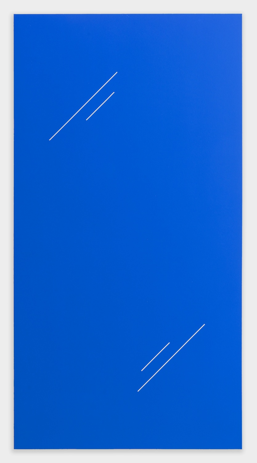 "Paul Cowan BCEAUSE THE SKY IS BULE 2013 Chroma-key Blue Paint On Canvas 78"" x 41"" PC078"
