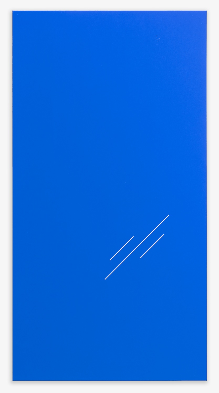 "Paul Cowan  BCEAUSE THE SKY IS BULE 2013  Chroma-key Blue Paint On Canvas   78"" x 41"" PC077"