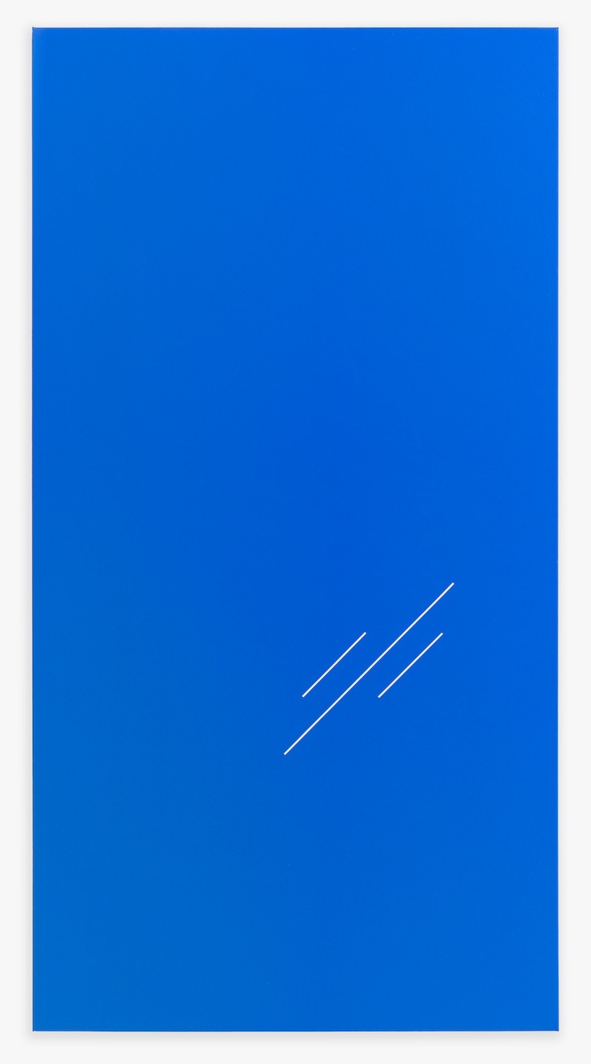 Paul Cowan  BCEAUSE THE SKY IS BULE  2013 Chroma-key Blue Paint On Canvas 78h x 41w in PC083