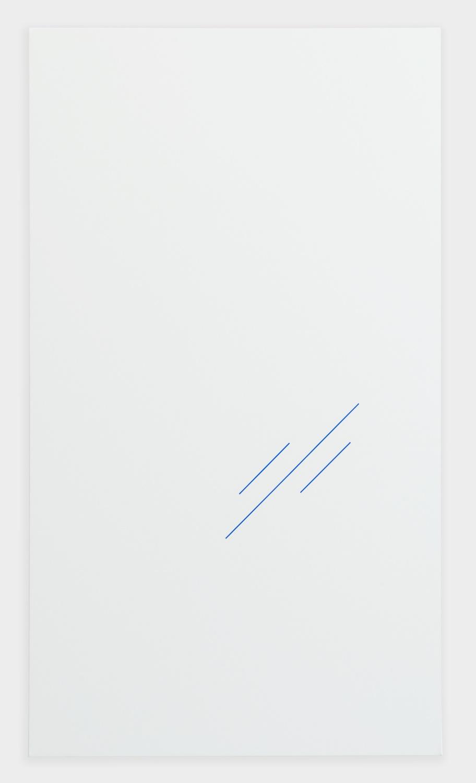 """Paul Cowan BCEAUSE THE SKY IS BULE 2013 Chroma-key Blue Paint On Canvas 72"""" x 41"""" PC084"""