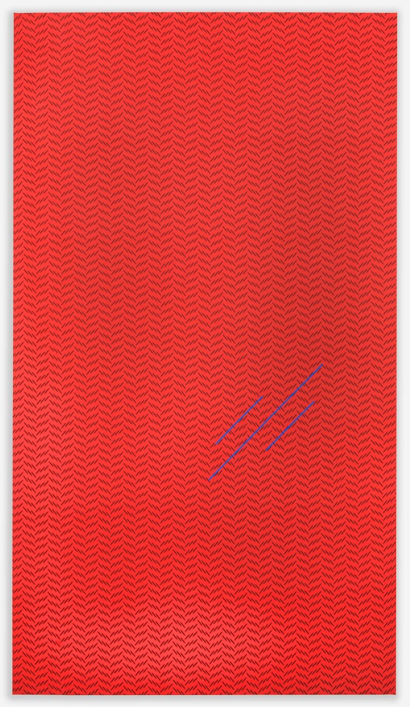 """Paul Cowan BCEAUSE THE SKY IS BULE 2013 Chroma-key blue paint on fabric  72""""x 41"""" PC088"""