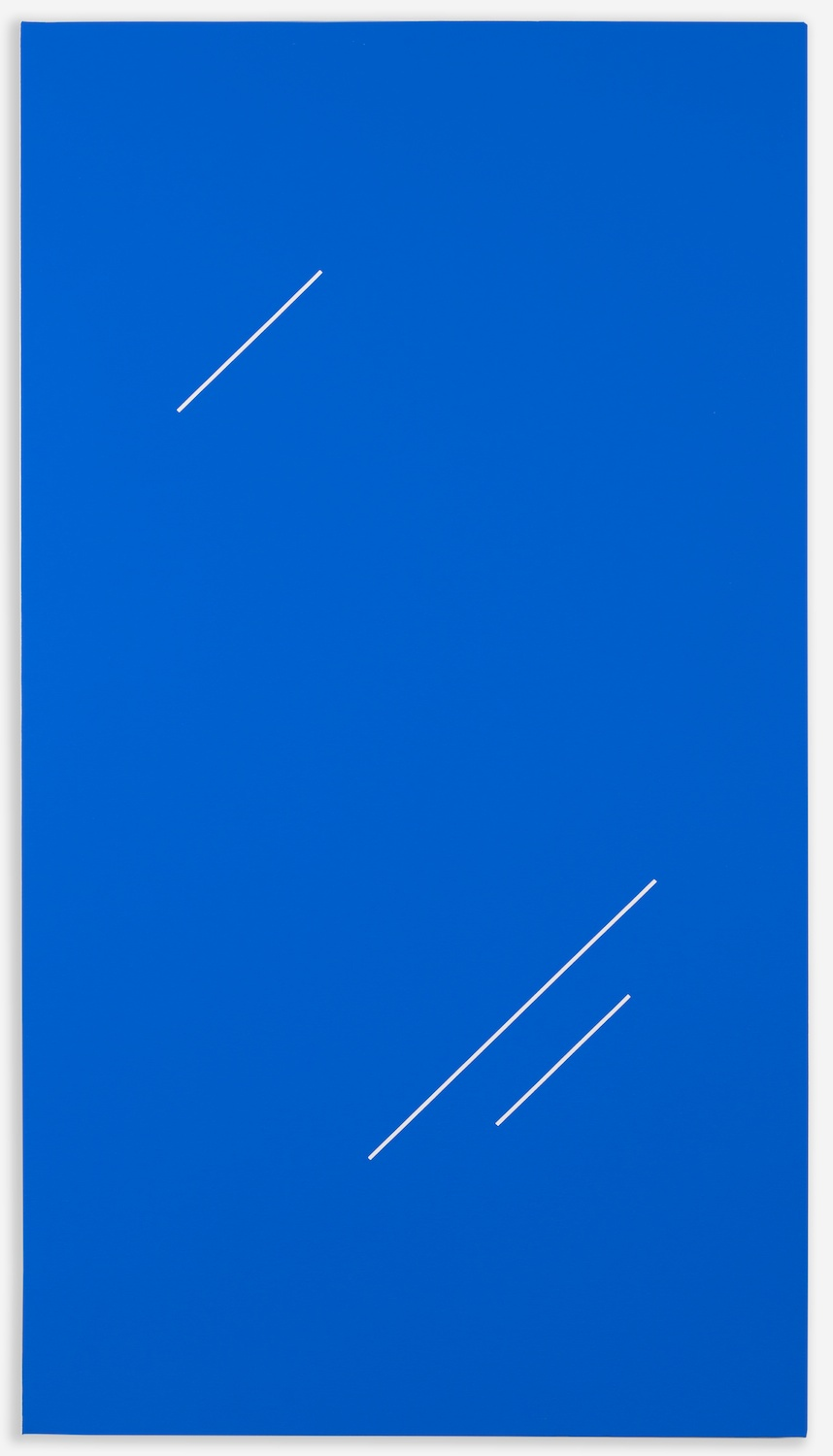 "Paul Cowan BCEAUSE THE SKY IS BULE  2013 Chroma-key blue paint on canvas  48"" x 26""  PC093"