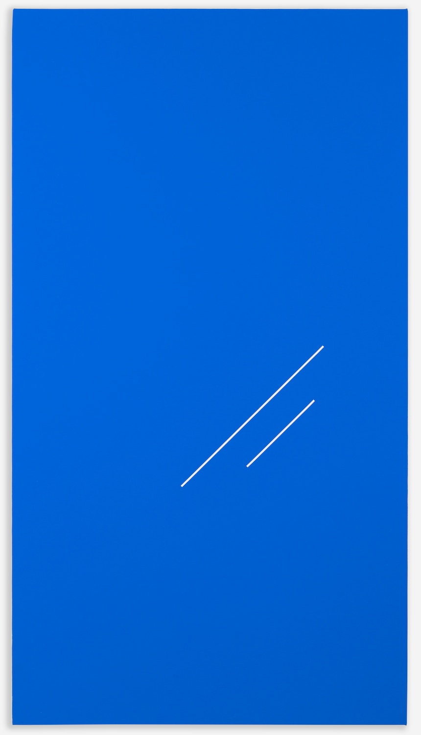"Paul Cowan BCEAUSE THE SKY IS BULE  2013 Chroma-key blue paint on canvas 48"" x 26""  PC090"