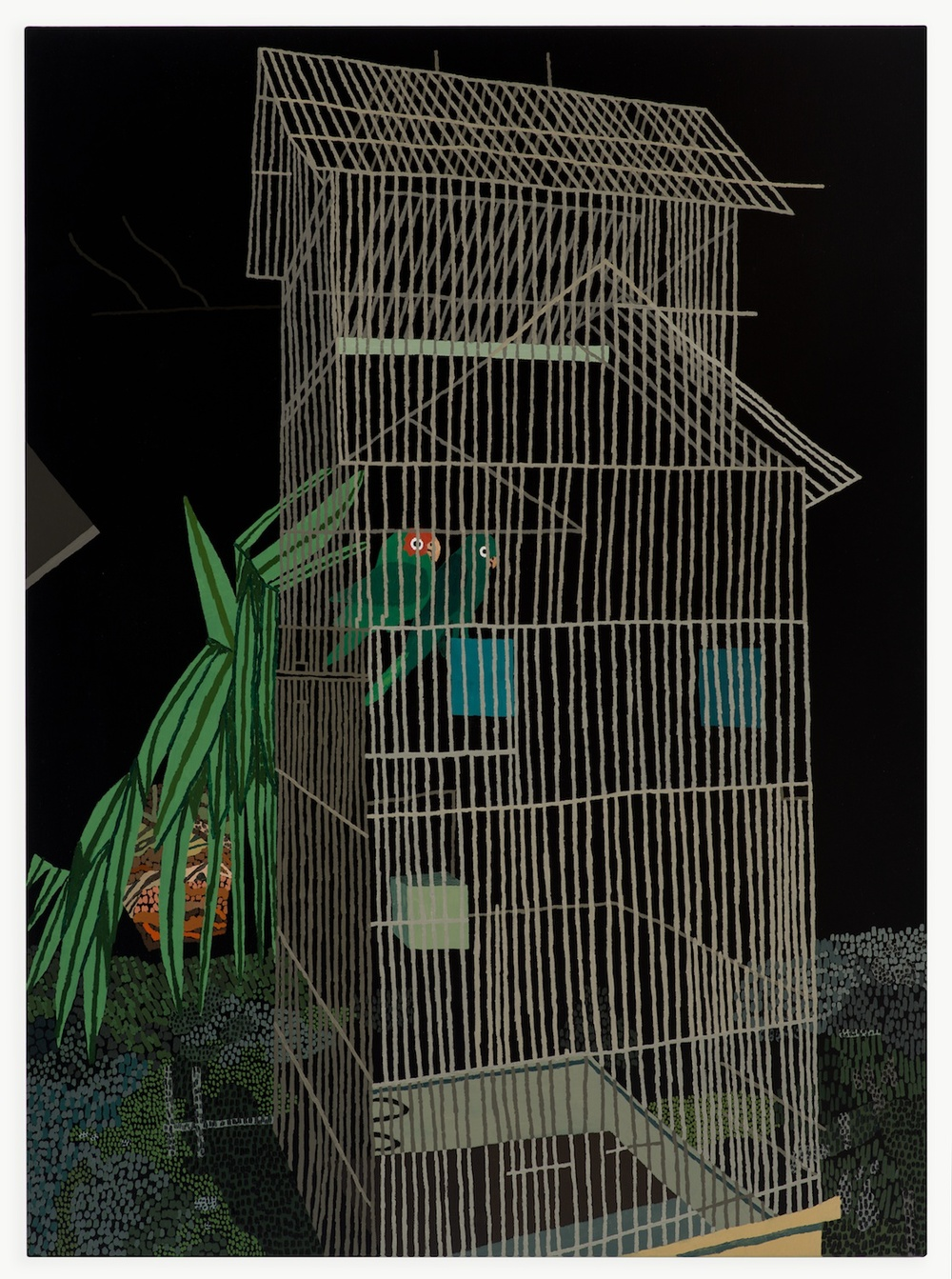 Jonas Wood  2 Birds at Night  2013 Oil and acrylic on linen 60h x 44w in JW154