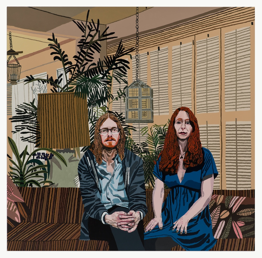 "Jonas Wood Michael and Leslie 2013 Oil and acrylic on canvas 63"" x 64"" JW160"