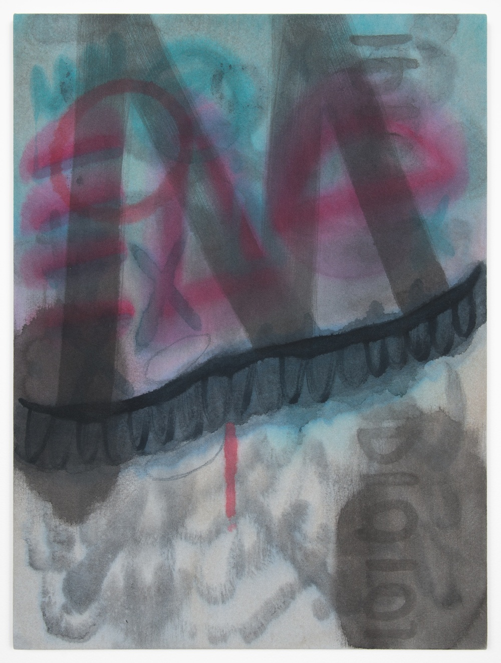 Amanda Ross-Ho  Untitled Painting (WHO NEEDS SKOOL)  2013 Acrylic and oil pastel on dyed canvas 24h x 18w in ARH040