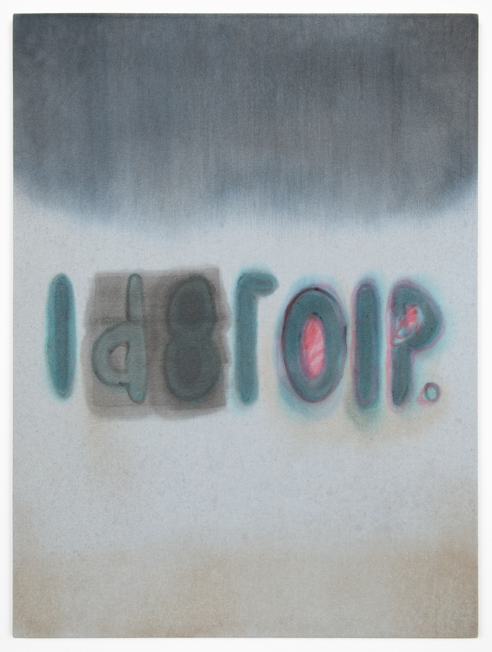 Amanda Ross-Ho  Untitled Painting (ROCKIN ROLL AIN'T AIR POLLUTION)  2013 Acrylic on dyed canvas 24h x 18w in ARH047